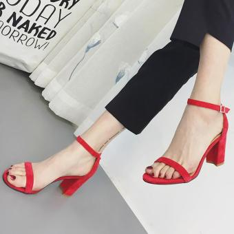 Women's Square Heel Sandals Korean Party Shoes Red - intl