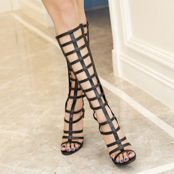 Women's Stiletto Sandals European High Heels with Cut Out Black - 4