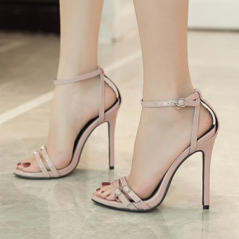 Women's Stiletto Sandals Leisure High Heels Apricot - intl