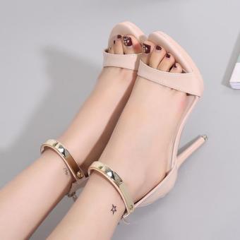 Women's Stiletto Sandals London Plus-size Ankle Strap Heels Apricot - intl - 2
