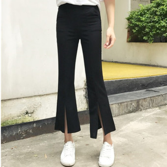 Women's Stretch High Waist Slit Bootcut Cropped Pants - Black