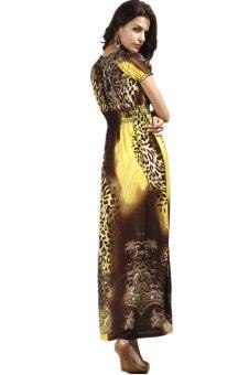Women's Summer Fashion Casual Elegant Slim Leopard Print Maxi Beach Dress Yellow - 3