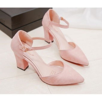 Women's Summer pure color Fashion Pointed High-heeled Shoes Block Heels Pointed Toe Suede A-Line Straps Formal Leather Lady Shallow Mouth Heel Sandals(apricot) - intl