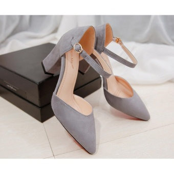 Women's Summer pure color Fashion Pointed High-heeled Shoes Block Heels Pointed Toe Suede A-Line Straps Formal Leather Lady Shallow Mouth Heel Sandals(GREY) - intl