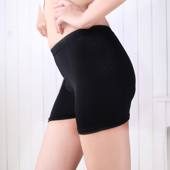 Women's Thin Lace Plus Size Safety Shorts Color Varies (Three points flat mouth-black)