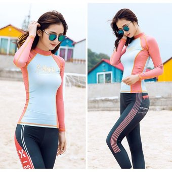 Women's UV Sun Protection Long Sleeve Rash Guard Wetsuit Swimsuit Top(Orange) - intl