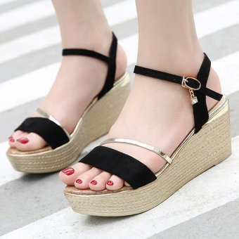 Women's Wedge Sling Back Shoes Fashion Espadrille Sandals Black - intl