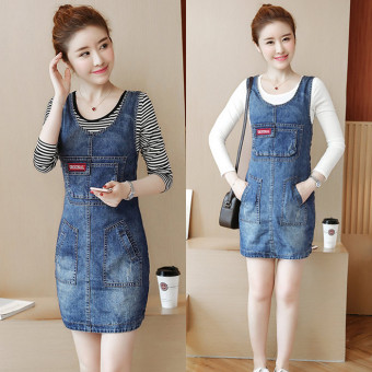 Women's Young Two-piece Denim Dress & T-Shirt - Black - Striped (White T + denim dress)