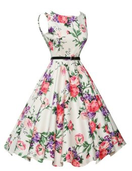 Women's Audrey Hepburn Floral Robe Retro Swing Casual VintageDresses (Pink) - 5
