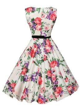 Women's Audrey Hepburn Floral Robe Retro Swing Casual VintageDresses (Pink) - 3