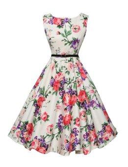 Women's Audrey Hepburn Floral Robe Retro Swing Casual VintageDresses (Pink) - 2
