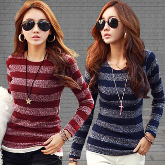 Women's Autumn Winter Fashion Striped Sweater T-shirt Long-sleevedO-neck Knitwear Clothes (Navy Blue)