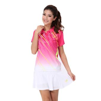 Women's Badminton Shirt Tennis Sports Clothes Ping Pong Jersey withSkirt (Pink) - intl