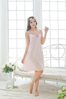 Women's Beige Top Silk Sleepwear Pajamas Nightgown NightdressLingerie - intl - 2
