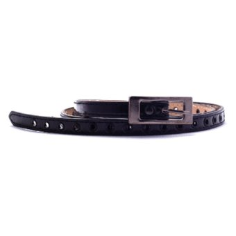 Women's Black Synthetic Leather with Gold Buckle Slim Belt