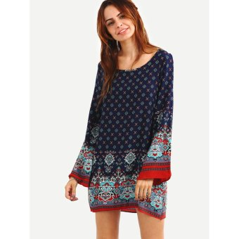 Women's Bohemian Casual Tunic Dress - Vintage Printed Ethnic SummerBoho Shift Tunic Loose Dress Tops (Blue) - intl Price Philippines