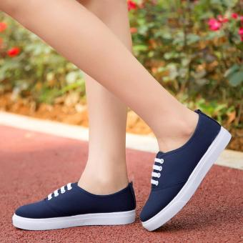 Women's Canvas and Rubber Sneakers with Lace - Navy Blue