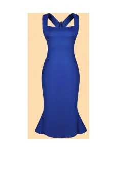 Womens Casual Peplum Lotus leaf Side Party Dress (Blue) - picture 2