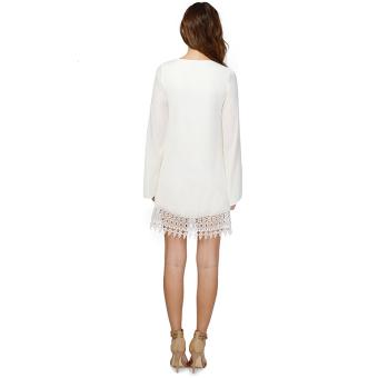 Women's Chiffon Lace Lower Hem Casual Loose Mini Dress (White) - picture 2