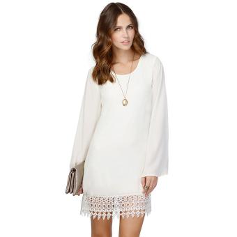 Women's Chiffon Lace Lower Hem Casual Loose Mini Dress (White)