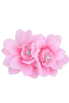 Womens Crystal Rhinestone Flower Petal Hair Pin Pink
