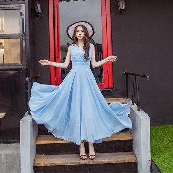 Women's Cute Style Bohemian Dress 2017 New Summer Fashion Long SlimSleeveless Solid Beach Dresses (Sky Blue) - intl - 2