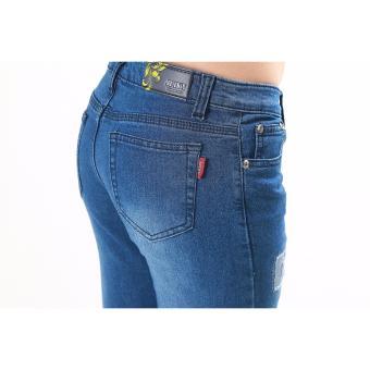 Women's Dark Blue Stitches Tattered Skinny Jeans - 5
