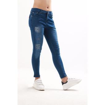 Women's Dark Blue Stitches Tattered Skinny Jeans - 3