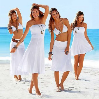 Womens Fashion Cover up Bikini Swimsuit Beach Dress (White)