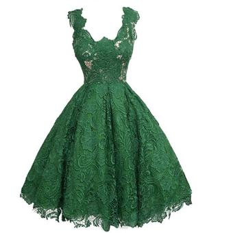 Women's Fashion Hollow Out Sleeveless Lace Cocktail PartyDress(Green) - intl - 2