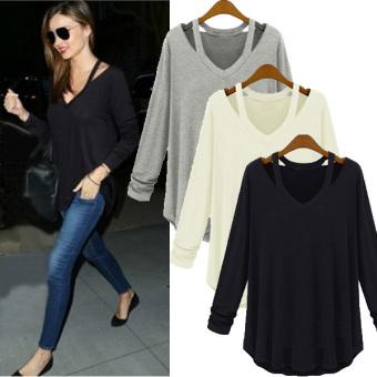 Womens Fashion Off Shoulder Long Sleeve V-Neck Loose Blouse White - Intl - 2