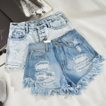 Women's Fashion Vintage Tassel Slim Fit Bore Hole Loose HighWaisted Short Jeans Punk Sexy Hot Woman Denim Shorts -Blue - intl Price Philippines