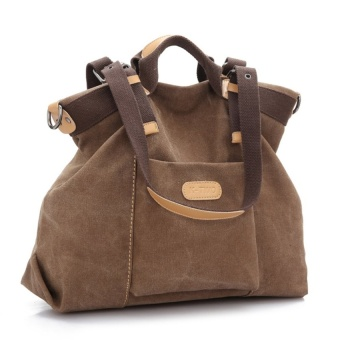 Womens Girls Large Capacity Leisure Canvas Handbag Tote ShoulderBagCross-body Messenger Bag Travel Bag (Brown) - intl Price Philippines
