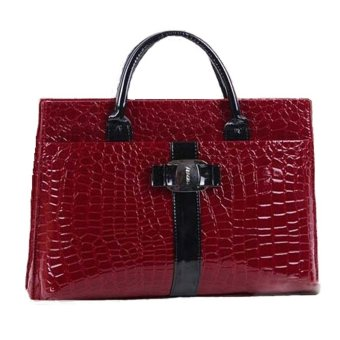 Women's Gloss Crocodile Pattern Office Tote Bag PU Briefcase (Red)