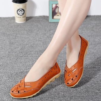 Women's Hollow Out Garden Casual Leather Flat Loafers Shoes - intl - 3