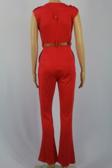 Womens Jumpsuit Sexy V-neck Wide Leg Slim Casual Overalls(Red) - 5