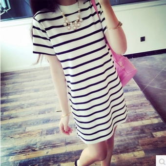 Womens Korean-style Slim Fit Striped Short Sleeve Mid Length T-Shirt (White striped) Women Clothing Tops Blouse T-Shirts