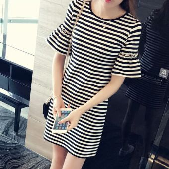 Womens Korean-style Striped Flare Sleeve T-Shirt Dress Women Clothing Tops Blouse T-Shirts