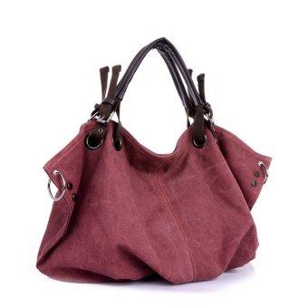 Women's Leisure Style Oversize Canvas Tote Handbags (Purple)