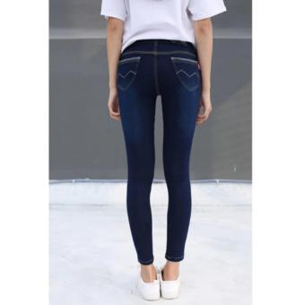 Women's Lift Butt Jeans with Light Scratch (BLUE) - 2