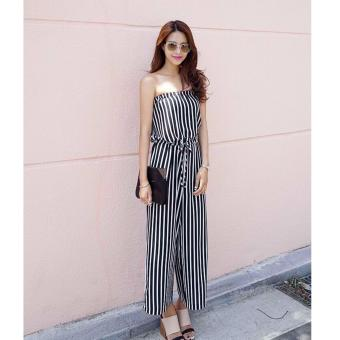 Women's Lovely Black Slash Neck Striped Jumpsuit Price Philippines