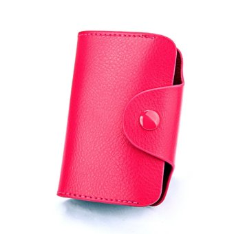 Womens Mens Credit Card Holder Wallet Lady RFID Leather ZipperWallet ID Case Rose - intl