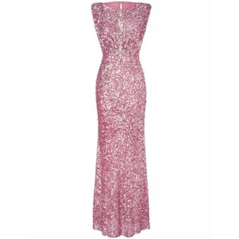 Women's Mermaid Long Bridesmaid Dress Sequins Wedding Party PromGown (Pink) - intl - 2