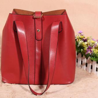 Women's new fashion Satchel Handbag Genuine Leather shoulderbag(red) - 4