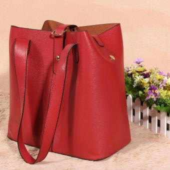 Women's new fashion Satchel Handbag Genuine Leather shoulderbag(red) - 5