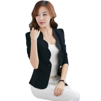 Women's One Button Slim Business Blazer Suit Jacket Coat OutwearBlack 2XL - intl