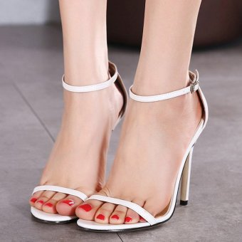 Womens Open Toe High Heel PU Leisure Sandals White - INTL Price Philippines