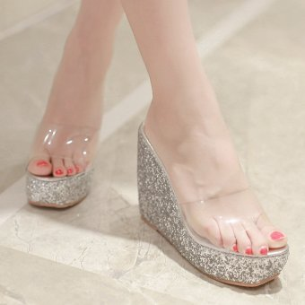 Womens Open Toe Wedge PU Casual Sandals with Sequined Silver - intl