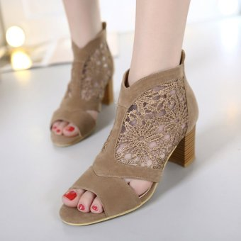 Women's Peep Toe Square Heel Sandals Japanese Shoes with Lace CutOut Brown Price Philippines