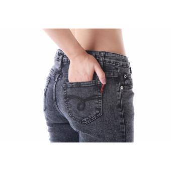 Women's Plain Grey Sexy Skinny Jeans - 2